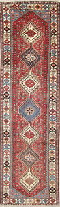 One Of A Kind Geometric Tribal Yalameh Persian Hand Knotted 3 X10 Runner Rug