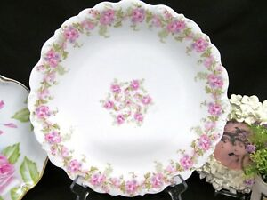 Limoges France Large Charger Pink Carnation Swags Scalloped Edges Platter