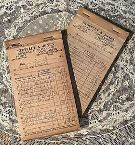 2 Antique 1936 General Store Grocery Receipt Book Stofflet Jones Weatherly Pa