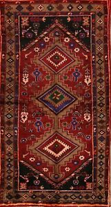 Excellent Geometric Tribal Hamedan Persian Hand Knotted Area Rug 6 6 X 3 6