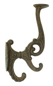 Solid Cast Iron Set Of 2 Victorian Wall Double Hook Hanger Coat Hat Heavy Duty