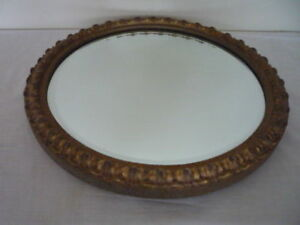 Antique Vintage Round Bevelled Edge Large Gilt Gold Framed Mirror Home Decor