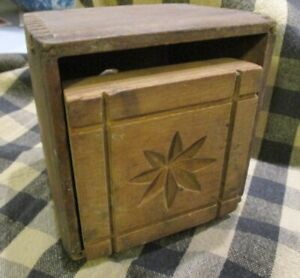 Antique Trapezoid Butter Stamp Star In Square Print Mold Jointed Wooden Press