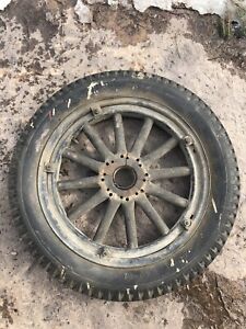Antique Model A Wheel And Tire Wooden Spokes