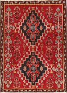Valentine Deal Red Geometric Tribal Kashkoli Persian Hand Knotted 3 X5 Wool Rug