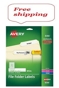Avery 1 3 Tab File Folder Labels White 750 Labels