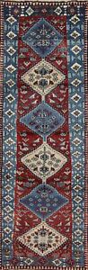 One Of A Kind South West Tribal Yalameh Persian Red Blue 3 X9 Wool Runner Rug