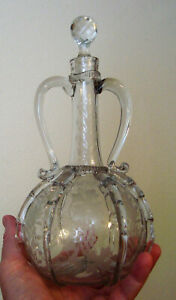 Antique Victorian Double Handles Decanter Hand Blown Hand Etched