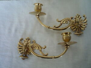 Decorative Pair Simple Antique Brass Wall Candlestick Holder Wall Sconce Piano