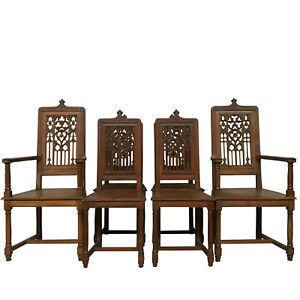 Set Of Six French Gothic Chairs In Oak 19th Century 19th Century