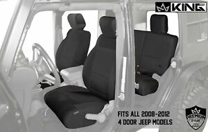2008 2012 Jeep Wrangler Jku 4 Door Custom Fit Neoprene Seat Covers Black black