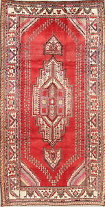 Vintage Geometric Abadeh Oriental Tribal Hand Knotted Wool 4 X8 Wide Runner Rug