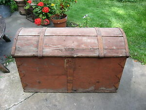 Antique Wood Tool Chest Domed Primative Red