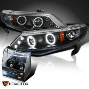 For 2006 2011 Honda Civic 4dr Black Halo Projector Headlights h1 Halogen Bulbs