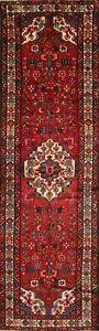 One Of A Kind Vintage Hamedan Persian Oriental Hand Knotted 4 X12 Runner Rug