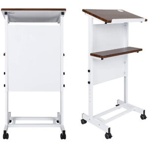 Wheeled Mobile Lectern Podium Rolling Compact Stand Up Desk W storage Shelf