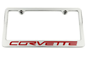 Chevrolet Corvette C6 Chrome License Plate Frame Made Usa Red