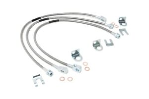 Rough Country Stainless Brake Lines Fits 87 06 Jeep Wrangler Yj Tj Cherokee Xj