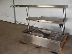 Ss Bartender Service Station 50lb Ice Bin With Bottle Rail And 2 Shelves