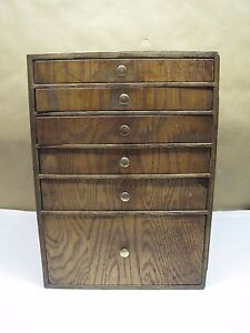 Small Antique Cabinet Six Drawers Collectors Cabinet