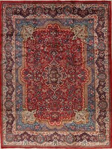 Vintage Sarouk Persian Floral Hand Knotted Wool Oriental Red 10x14 Large Rugs