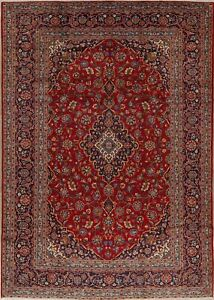 Traditional Persian Wool Hand Knotted Floral Oriental Red 9x13 Large Red Rugs