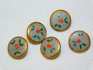 5 Antique Vtg Tiny Hand Painted Buttons Gold Metal Red Green Doll Clothes Lot