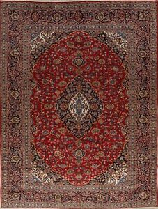 Vintage Persian Rug Traditional Floral Hand Knotted Wool Red 10x13 Large Rug