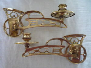 2 Old Antique Decorative Brass Candlestick Holders Wall Sconce Piano Reclaimed