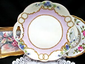 Limoges France Charger Raised Gold Beaded Jeweled Violets Pink Plate