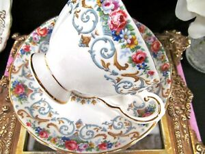 Tuscan Tea Cup And Saucer Orleans Pattern Roses Flower Teacup