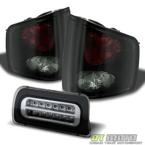 Fits 94 04 Chevy S10 Gmc Sonoma Blk Smoke Tail Lamps Led 3rd Tail Brake Light