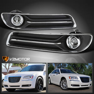 For 2011 2014 Chrysler 300 Clear Bumper Fog Lights Lamps h11 Bulbs switch relay