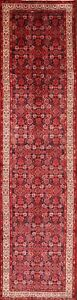 Vintage All Over Traditional Hamedan Persian Hand Knotted Wool 4 X14 Runner Rug