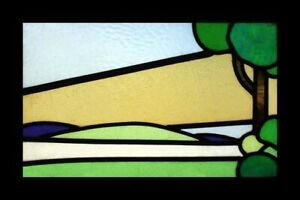 Art Deco Trees Of Green English Stained Glass Window