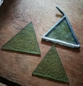 3 X Old Piece Of Stained Glass Spares Repairs