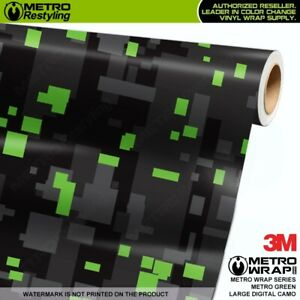 Large Digital Metro Green Camouflage Vinyl Vehicle Car Wrap Camo Film Sheet Roll