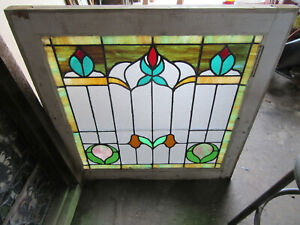 Antique Stained Glass Window 2 Of 2 28 X 29 Architectural Salvage
