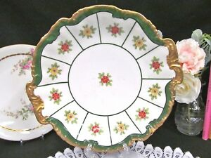 Limoges France Floral Double Handle Cake Plate Painted Charger Gold Bands