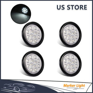 4pcs White 4 Inch Round 12 Led Marker Stop Turn Tail Light Truck Trailer Lamps