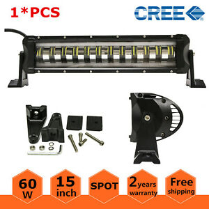 15 In 60w Cree Led Light Bar Spot Driving Lamp Single Row Truck 4wd Strobe Flash