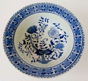 Vintage Large Formalities Braun Bros Chinese Porcelain Blue And White Bowl
