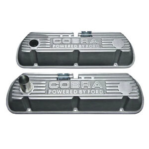 Mustang Valve Covers Polished Fins Powered By Ford Cobra Tall Cast Aluminum 289