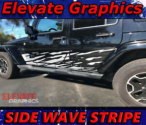 Jeep Wrangler Side Wave Stripe 3m Decal Stickers Vinyl Graphics Fits 2007 2018