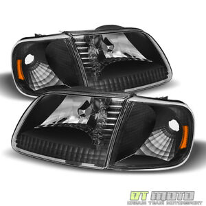 Blk 1997 2003 Ford F150 Expedition Headlights signal Lights Corner Lamps 4pc Set