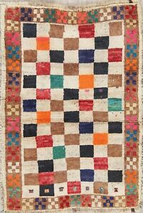 Checked Color Full Gabbeh Persian Modern Rug Hand Knotted Oriental Vintage Wool