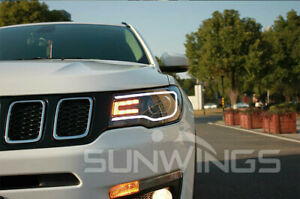 For Jeep Compass Headlights Assembly Bi Xenon Lens Double Beam Hid Kit 2018