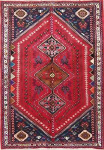 One Of A Kind Vintage Geometric Tribal Abadeh Persian Hand Knotted 4x6 Wool Rug