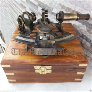 New Brass Collectible German Astrolabe Marine Nautical Sextant Wooden Box S119