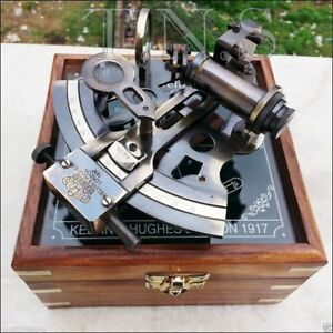 Collectible Antique Nautical Brass Working German Marine Sextant Wooden Box S117